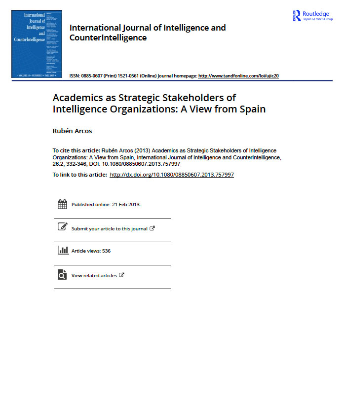 Academics as strategic stakeholders of intelligence organizations: a view from Spain